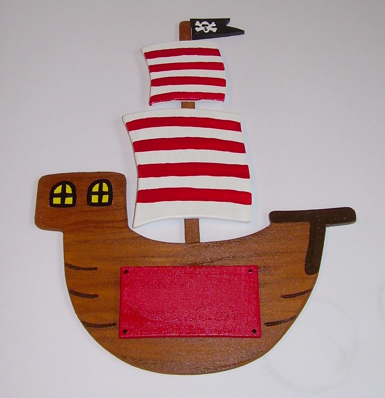 Kinderzimmerschild - Pirat / Piratenschiff - Originelle Deko ...
