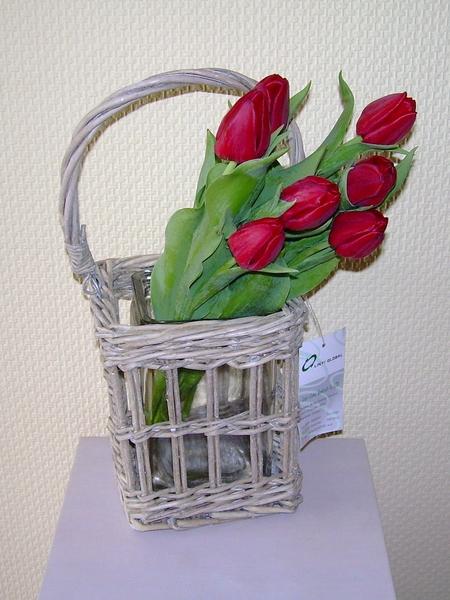 Korb mit glas originelle deko geschenke for Korb deko